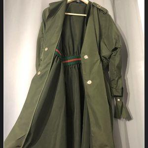 Olive Gunner Mid Trench Coat